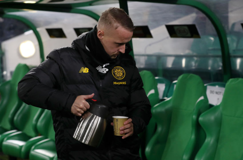 GLASGOW, SCOTLAND - NOVEMBER 28: Leigh Griffiths of Celtic pours himself a drink ahead of the UEFA Europa League group E match between Celtic FC and Stade Rennes at Celtic Park on November 28, 2019 in Glasgow, United Kingdom. (Photo by Ian MacNicol/Getty Images)