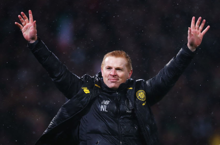 GLASGOW, SCOTLAND - DECEMBER 08: Neil Lennon, Manager of Celtic celebrates his team's victory after the Betfred Cup Final between Rangers FC and Celtic FC at Hampden Park on December 08, 2019 in Glasgow, Scotland. (Photo by Michael Steele/Getty Images)