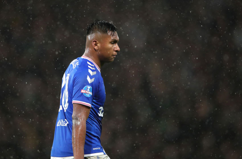 GLASGOW, SCOTLAND - DECEMBER 08: Alfredo Morelos of Rangers FC reacts to his team's defeat after the Betfred Cup Final between Rangers FC and Celtic FC at Hampden Park on December 08, 2019 in Glasgow, Scotland. (Photo by Ian MacNicol/Getty Images)