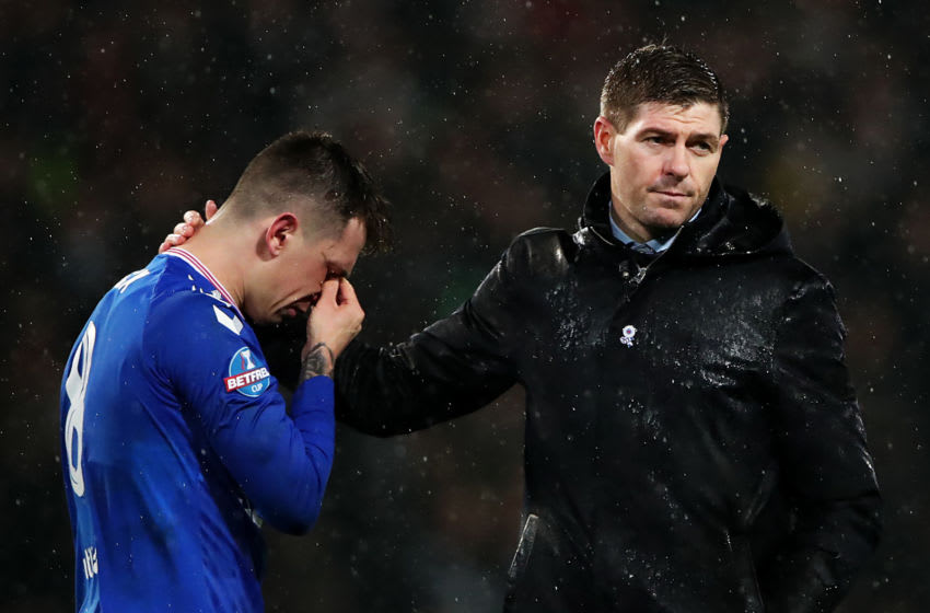 GLASGOW, SCOTLAND - DECEMBER 08: Steven Gerrard, Manager of Rangers FC (R) consoles Ryan Jack of Rangers FC following defeat in the Betfred Cup Final between Rangers FC and Celtic FC at Hampden Park on December 08, 2019 in Glasgow, Scotland. (Photo by Ian MacNicol/Getty Images)