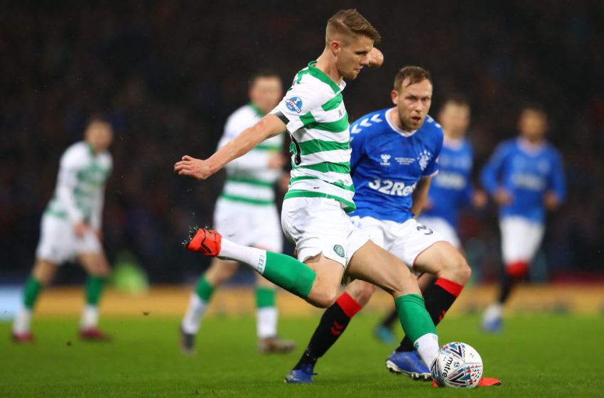 GLASGOW, SCOTLAND - DECEMBER 08: Kristoffer Ajer of Celtic during the Betfred Cup Final between Rangers FC and Celtic FC at Hampden Park on December 08, 2019 in Glasgow, Scotland. (Photo by Michael Steele/Getty Images)