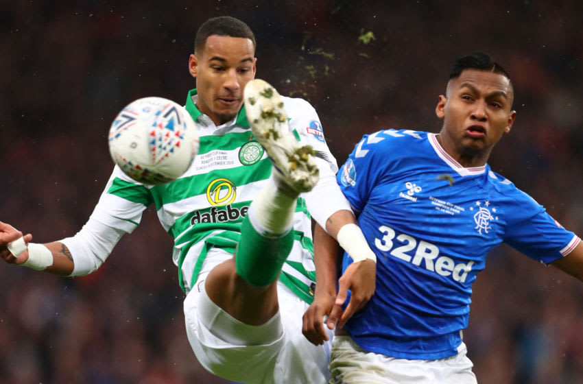 GLASGOW, SCOTLAND - DECEMBER 08: Christopher Jullien of Celtic clears from Alfredo Morelos of Rangers during the Betfred Cup Final between Rangers FC and Celtic FC at Hampden Park on December 08, 2019 in Glasgow, Scotland. (Photo by Michael Steele/Getty Images)