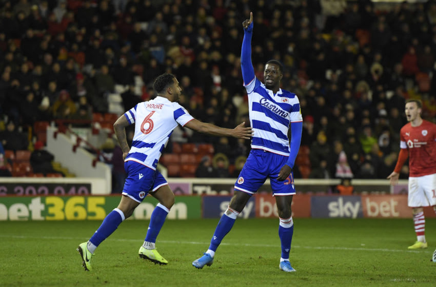 BARNSLEY, ENGLAND - DECEMBER 11: Lucas Joao of Reading celebrates after scoring his sides first goal during the Sky Bet Championship match between Barnsley and Reading at Oakwell Stadium on December 11, 2019 in Barnsley, England. (Photo by George Wood/Getty Images)