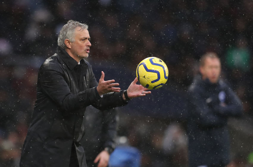 LONDON, ENGLAND - DECEMBER 26: Tottenham Hotspur Manager Jose Mourinho catches the ball during the Premier League match between Tottenham Hotspur and Brighton & Hove Albion at Tottenham Hotspur Stadium on December 26, 2019 in London, United Kingdom. (Photo by Catherine Ivill/Getty Images)