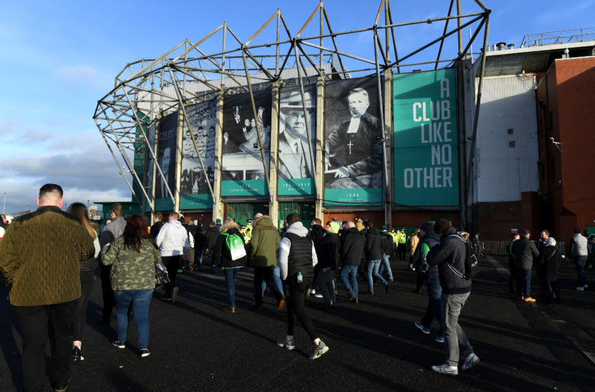 GLASGOW, SCOTLAND - DECEMBER 29: Fans begin to gather outside the stadium during the Ladbrokes Premiership match between Celtic and Rangers at Celtic Park on December 29, 2019 in Glasgow, Scotland. (Photo by Mark Runnacles/Getty Images)