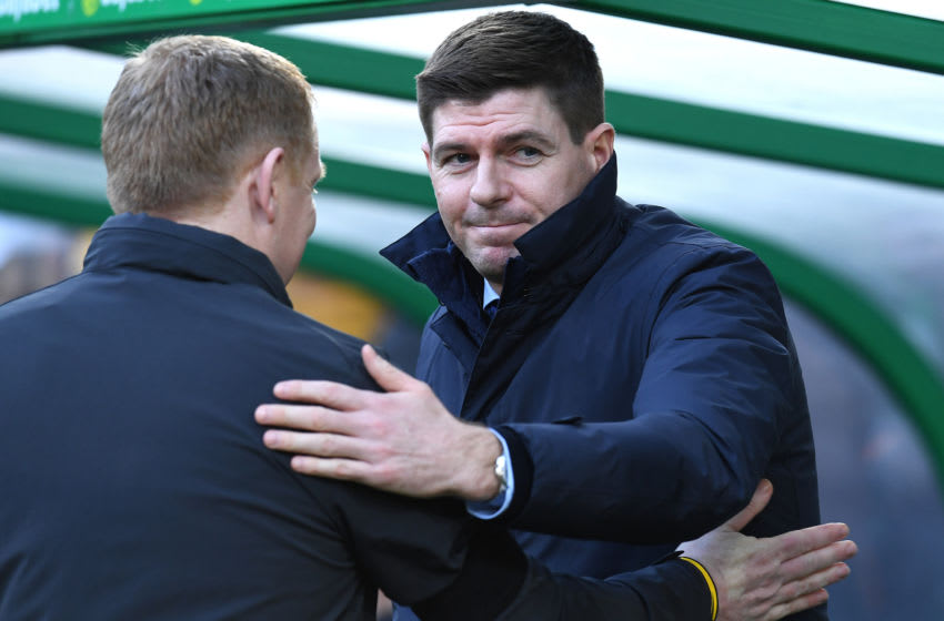 GLASGOW, SCOTLAND - DECEMBER 29: Rangers Manager Steven Gerrard and Celtic Manager Neil Lennon shake hands during the Ladbrokes Premiership match between Celtic and Rangers at Celtic Park on December 29, 2019 in Glasgow, Scotland. (Photo by Ian MacNicol/Getty Images)
