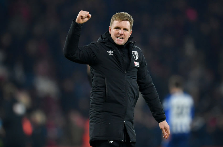 BOURNEMOUTH, ENGLAND - JANUARY 21: Eddie Howe, Manager of AFC Bournemouth celebrates victory after the Premier League match between AFC Bournemouth and Brighton & Hove Albion at Vitality Stadium on January 21, 2020 in Bournemouth, United Kingdom. (Photo by Dan Mullan/Getty Images)