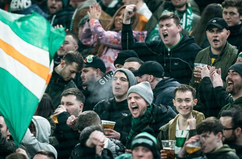 Celtic fans cheer prior to the Europa League last 32 first leg football match between FC Copenhagen and Celtic in Copenhagen on February 20, 2020. (Photo by Niels Christian Vilmann / Ritzau Scanpix / AFP) / Denmark OUT (Photo by NIELS CHRISTIAN VILMANN/Ritzau Scanpix/AFP via Getty Images)