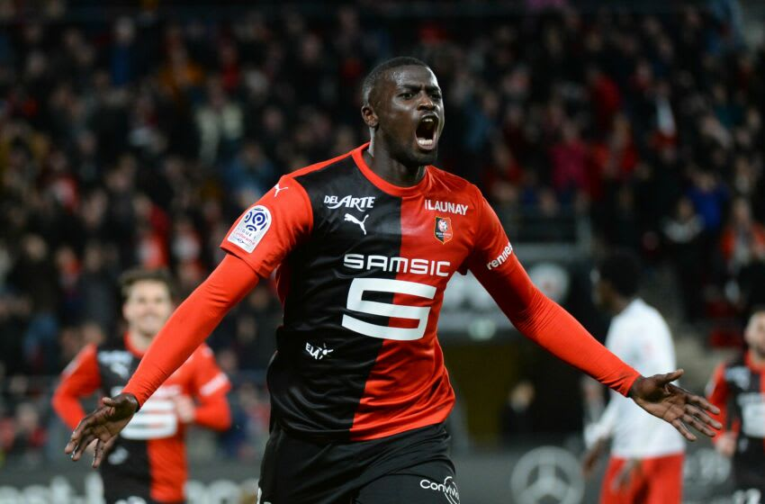 Rennes' Senegalese forward Mbaye Niang (C) reacts after scoring his team's second goal during the French L1 Football match between Stade Rennais Football Club and Nimes Olympique, on February 23, 2020, at the Roazhon Park, in Rennes, western France. - Rennes won Nimes 2-0 (Photo by JEAN-FRANCOIS MONIER / AFP) (Photo by JEAN-FRANCOIS MONIER/AFP via Getty Images)