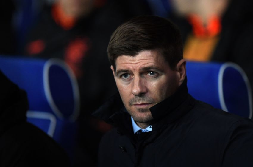 Rangers' English manager Steven Gerrard watches his players from the touchline during the UEFA Europa League round of 16 first leg football match between Rangers FC and Bayer 04 Leverkusen at the Ibrox Stadium in Glasgow on March 12, 2020. (Photo by ANDY BUCHANAN / AFP) (Photo by ANDY BUCHANAN/AFP via Getty Images)