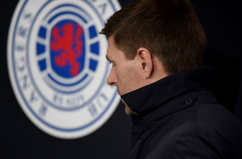 Rangers' English manager Steven Gerrard looks on prior to the UEFA Europa League round of 16 first leg football match between Rangers FC and Bayer 04 Leverkusen at the Ibrox Stadium in Glasgow on March 12, 2020. (Photo by ANDY BUCHANAN / AFP) (Photo by ANDY BUCHANAN/AFP via Getty Images)