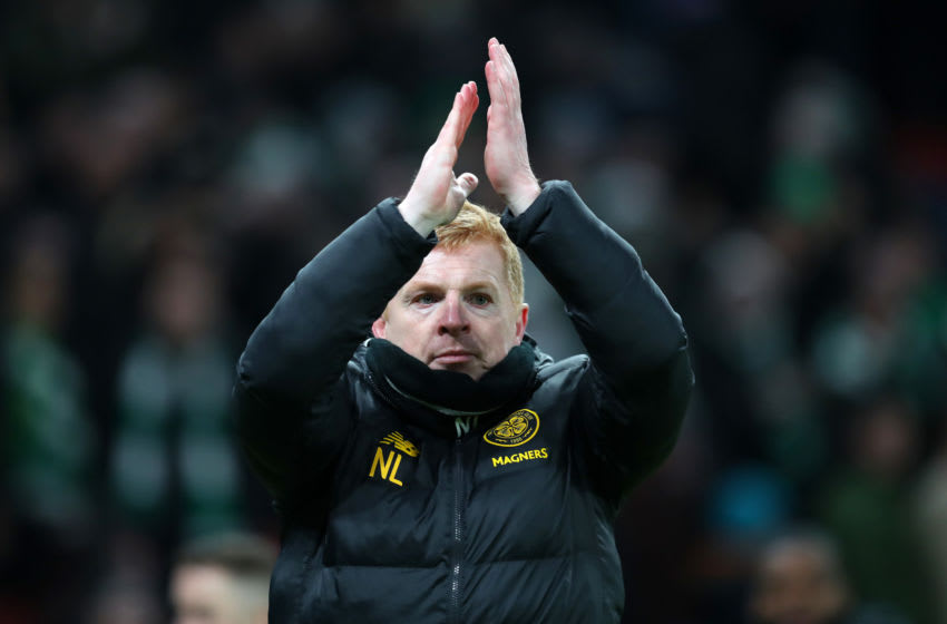 COPENHAGEN, DENMARK - FEBRUARY 20: Neil Lennon, Manager of Celtic acknowledges the fans after the UEFA Europa League round of 32 first leg match between FC Kobenhavn and Celtic FC at Telia Parken on February 20, 2020 in Copenhagen, Denmark. (Photo by Catherine Ivill/Getty Images)
