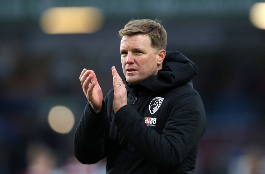 BURNLEY, ENGLAND - FEBRUARY 22: Eddie Howe, Manager of AFC Bournemouth applauds fans after the Premier League match between Burnley FC and AFC Bournemouth at Turf Moor on February 22, 2020 in Burnley, United Kingdom. (Photo by Jan Kruger/Getty Images)