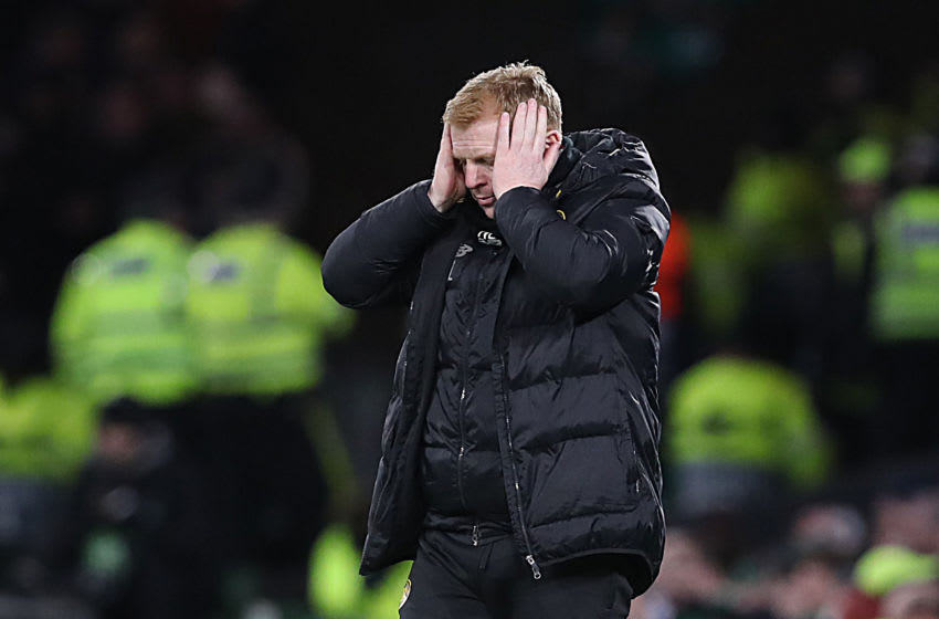 GLASGOW, SCOTLAND - FEBRUARY 27: Celtic manager Neil Lennon reacts as his team suffer a 1 - 3 defeat during the UEFA Europa League round of 32 second leg match between Celtic FC and FC Kobenhavn at Celtic Park on February 27, 2020 in Glasgow, United Kingdom. (Photo by Ian MacNicol/Getty Images)