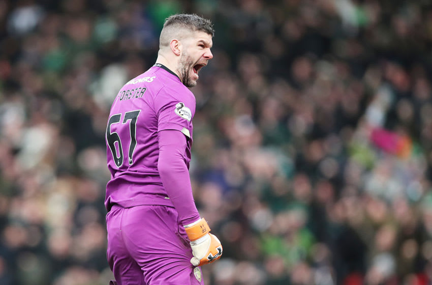 PERTH, SCOTLAND - MARCH 01: Celtic goalkeeper Fraser Forster reacts when his team score during the Scottish Cup Quarter final match between St Johnstone and Celtic at McDiarmid Park on March 01, 2020 in Perth, Scotland. (Photo by Ian MacNicol/Getty Images)