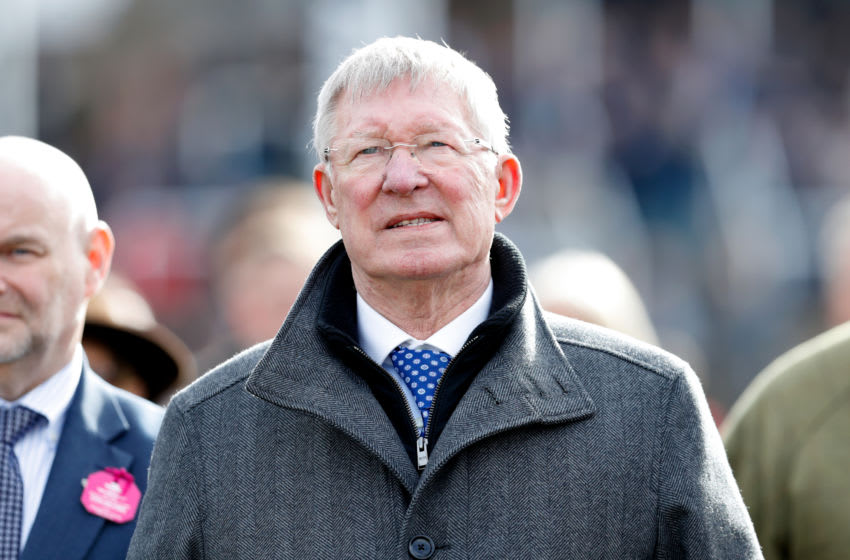 CHELTENHAM, UNITED KINGDOM - MARCH 11: (EMBARGOED FOR PUBLICATION IN UK NEWSPAPERS UNTIL 24 HOURS AFTER CREATE DATE AND TIME) Sir Alex Ferguson watches his horse 'Protektorat' run in the Coral Cup Handicap Hurdle race on day 2 'Ladies Day' of the Cheltenham Festival 2020 at Cheltenham Racecourse on March 11, 2020 in Cheltenham, England. (Photo by Max Mumby/Indigo/Getty Images)