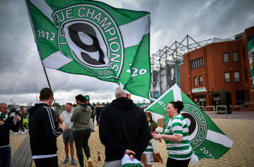 GLASGOW, SCOTLAND - MAY 18: Celtic fans gather at Celtic Park following the announcement that their club has been crowned Scottish champions for the ninth season in a row and Hearts have been relegated after the SPFL ended the season on May 18, 2020 in Glasgow, Scotland. (Photo by Jeff J Mitchell/Getty Images)