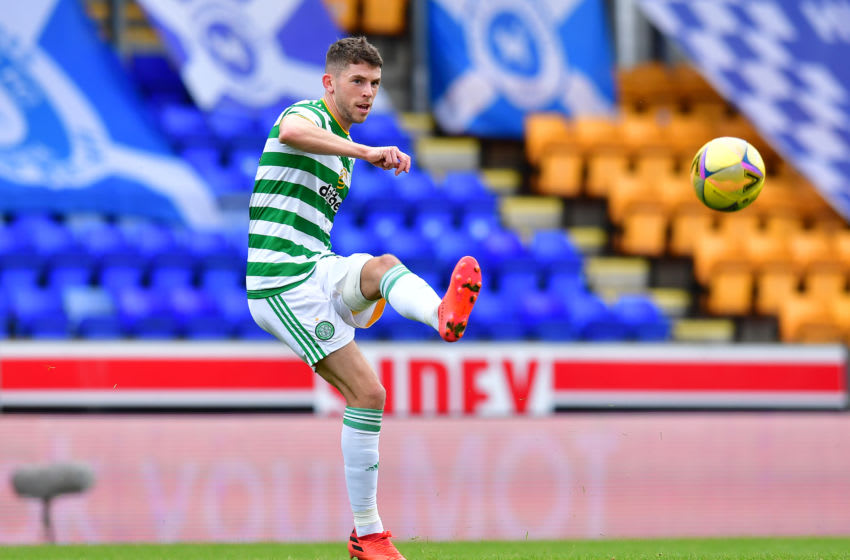 PERTH, SCOTLAND - OCTOBER 04: Ryan Christie of Celtic in action during the Ladbrokes Scottish Premiership match between St. Johnstone and Celtic at McDiarmid Park on October 04, 2020 in Perth, Scotland. (Photo by Mark Runnacles/Getty Images)