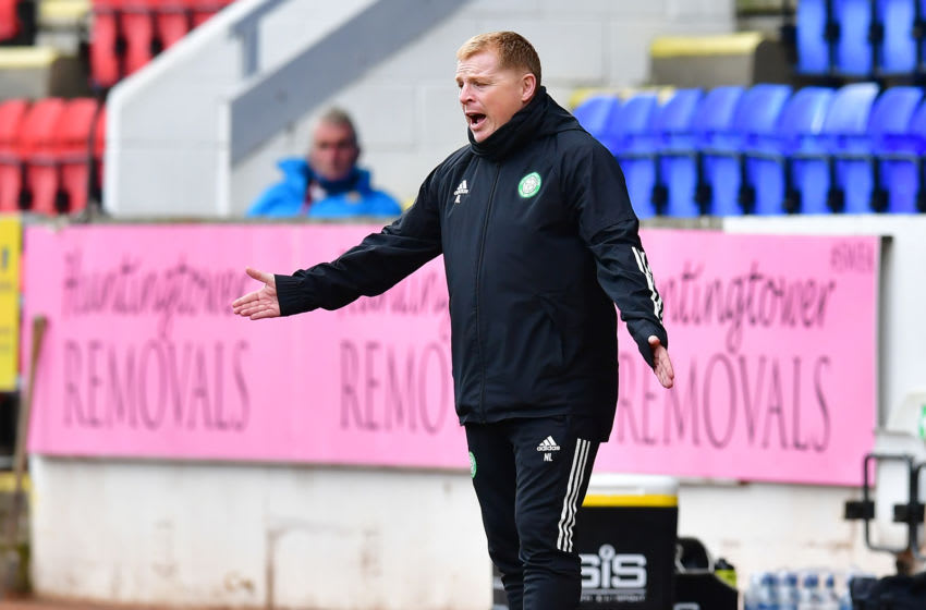 PERTH, SCOTLAND - OCTOBER 04: Neil Lennon, manager of Celtic gestures during the Ladbrokes Scottish Premiership match between St. Johnstone and Celtic at McDiarmid Park on October 04, 2020 in Perth, Scotland. (Photo by Mark Runnacles/Getty Images)