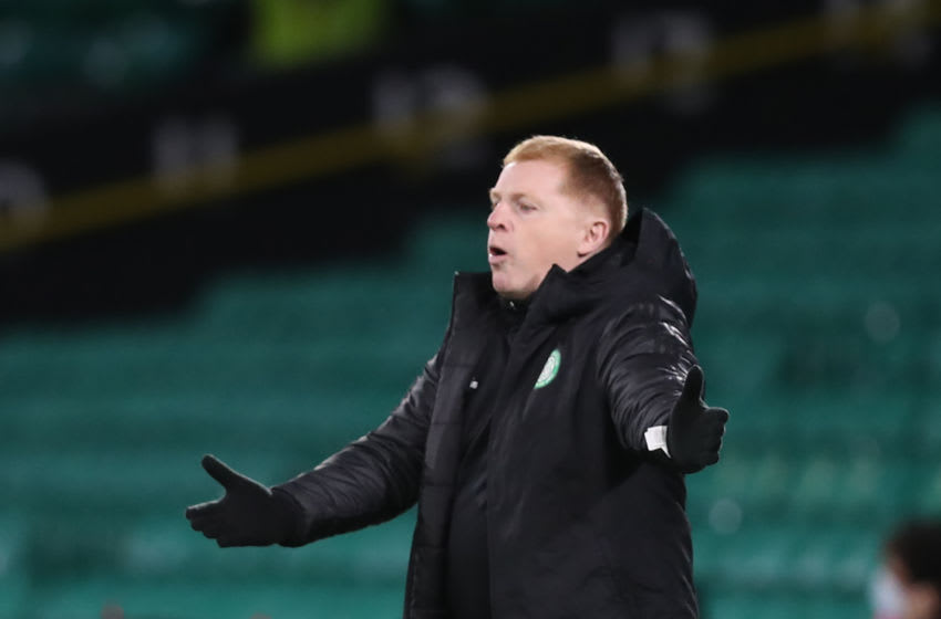 Celtic's Scottish head coach Neil Lennon gestures during the UEFA Europa League 1st round group H football match between Celtic and AC Milan at Celtic Park stadium in Glasgow, Scotland on October 22, 2020. (Photo by RUSSELL CHEYNE / POOL / AFP) (Photo by RUSSELL CHEYNE/POOL/AFP via Getty Images)