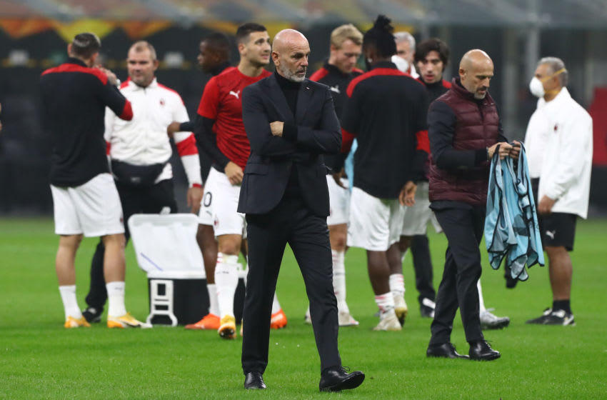 MILAN, ITALY - NOVEMBER 05: AC Milan coach Stefano Pioli during the warm up before the UEFA Europa League Group H stage match between AC Milan and LOSC Lille at San Siro Stadium on November 5, 2020 in Milan, Italy. (Photo by Marco Luzzani/Getty Images)