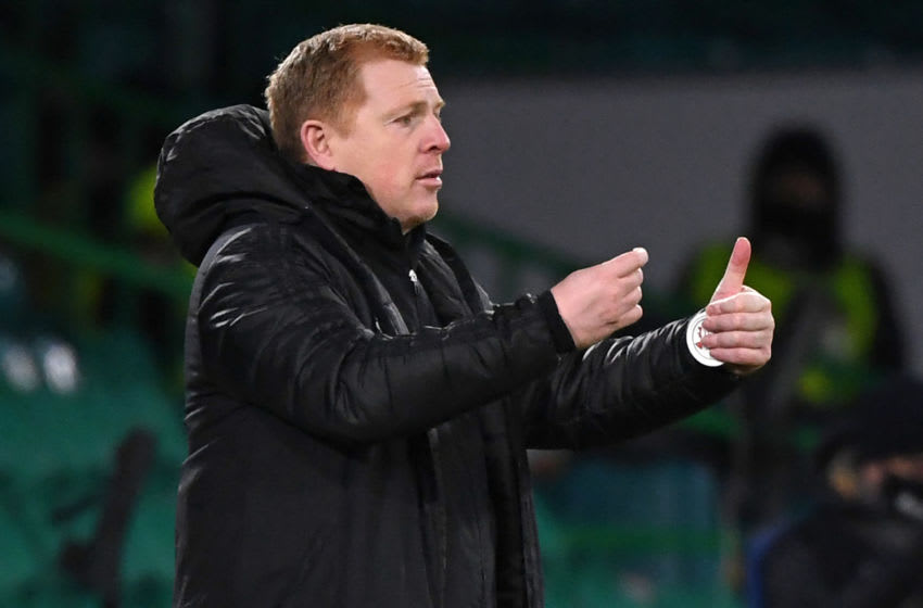 Celtic's Scottish head coach Neil Lennon gestures on the touchline during the UEFA Europa League Group H football match between Celtic and Lille at Celtic Park stadium in Glasgow, Scotland on December 10, 2020. (Photo by ANDY BUCHANAN / POOL / AFP) (Photo by ANDY BUCHANAN/POOL/AFP via Getty Images)