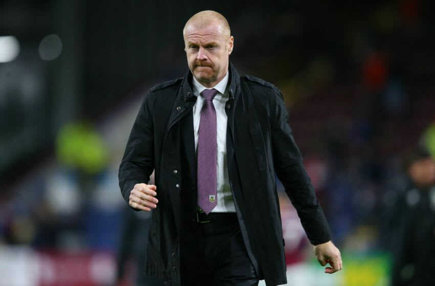 Burnley's English manager Sean Dyche reacts at the final whistle during the English Premier League football match between Burnley and Liverpool at Turf Moor in Burnley, north west England on May 19, 2021. - RESTRICTED TO EDITORIAL USE. No use with unauthorized audio, video, data, fixture lists, club/league logos or 'live' services. Online in-match use limited to 120 images. An additional 40 images may be used in extra time. No video emulation. Social media in-match use limited to 120 images. An additional 40 images may be used in extra time. No use in betting publications, games or single club/league/player publications. (Photo by Alex Livesey / POOL / AFP) / RESTRICTED TO EDITORIAL USE. No use with unauthorized audio, video, data, fixture lists, club/league logos or 'live' services. Online in-match use limited to 120 images. An additional 40 images may be used in extra time. No video emulation. Social media in-match use limited to 120 images. An additional 40 images may be used in extra time. No use in betting publications, games or single club/league/player publications. / RESTRICTED TO EDITORIAL USE. No use with unauthorized audio, video, data, fixture lists, club/league logos or 'live' services. Online in-match use limited to 120 images. An additional 40 images may be used in extra time. No video emulation. Social media in-match use limited to 120 images. An additional 40 images may be used in extra time. No use in betting publications, games or single club/league/player publications. (Photo by ALEX LIVESEY/POOL/AFP via Getty Images)