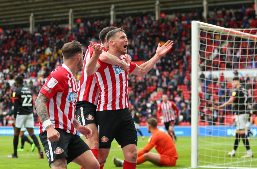 SUNDERLAND, ENGLAND - MAY 22: Charlie Wyke of Sunderland celebrates after scoring a goal to make it 2-0 during the Sky Bet League One Play-off Semi Final 2nd Leg match between Sunderland and Lincoln City at Stadium of Light on May 22, 2021 in Sunderland, England. (Photo by Robbie Jay Barratt - AMA/Getty Images)