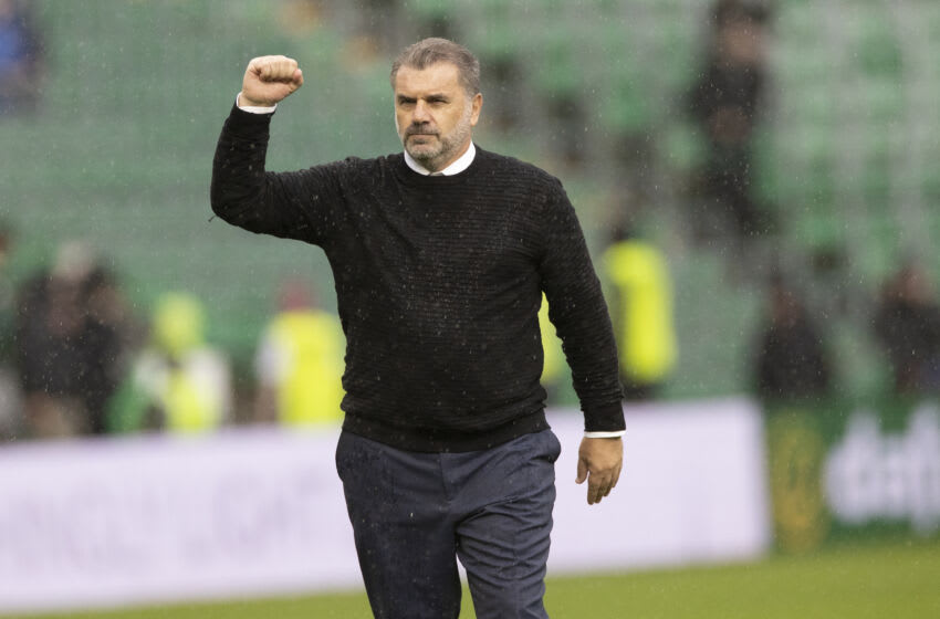 GLASGOW, SCOTLAND - AUGUST 08: Ange Postecoglou Manager of Celtic at the end after the Cinch Scottish Premiership match between Celtic FC and Dundee FC on August 8, 2021 in Glasgow, United Kingdom. (Photo by Steve Welsh/Getty Images)