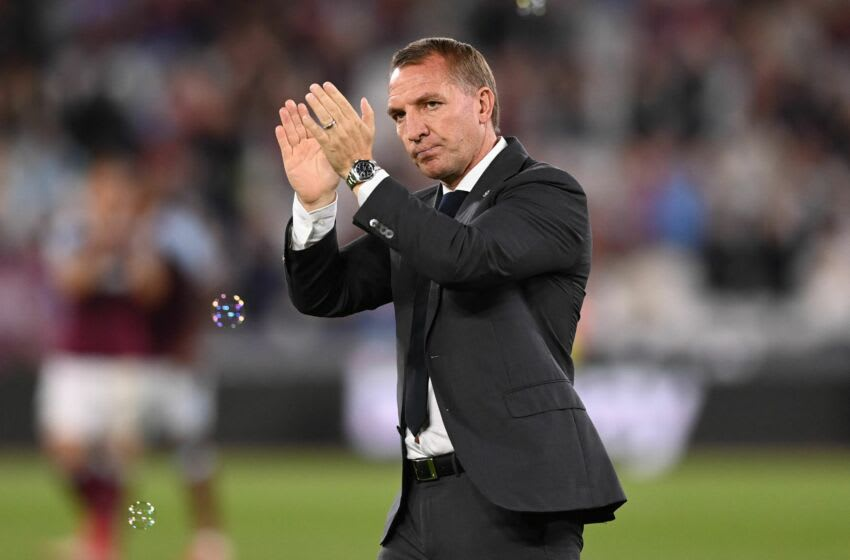 Leicester City's Northern Irish manager Brendan Rodgers applauds supporters after the English Premier League football match between West Ham United and Leicester City at The London Stadium, in east London on August 23, 2021. - Leicester won the game 4-1. - RESTRICTED TO EDITORIAL USE. No use with unauthorized audio, video, data, fixture lists, club/league logos or 'live' services. Online in-match use limited to 120 images. An additional 40 images may be used in extra time. No video emulation. Social media in-match use limited to 120 images. An additional 40 images may be used in extra time. No use in betting publications, games or single club/league/player publications. (Photo by Glyn KIRK / AFP) / RESTRICTED TO EDITORIAL USE. No use with unauthorized audio, video, data, fixture lists, club/league logos or 'live' services. Online in-match use limited to 120 images. An additional 40 images may be used in extra time. No video emulation. Social media in-match use limited to 120 images. An additional 40 images may be used in extra time. No use in betting publications, games or single club/league/player publications. / RESTRICTED TO EDITORIAL USE. No use with unauthorized audio, video, data, fixture lists, club/league logos or 'live' services. Online in-match use limited to 120 images. An additional 40 images may be used in extra time. No video emulation. Social media in-match use limited to 120 images. An additional 40 images may be used in extra time. No use in betting publications, games or single club/league/player publications. (Photo by GLYN KIRK/AFP via Getty Images)