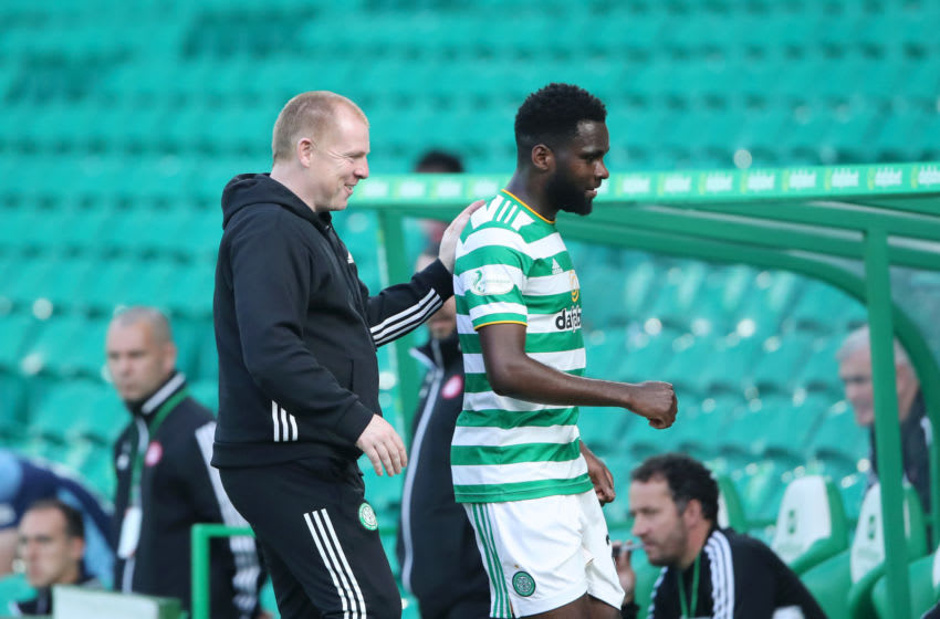 GLASGOW, SCOTLAND - AUGUST 02: Neil Lennon Head Coach of Celtic congratulates Odsonne Edouard of Celtic as he comes off the pitch during the Ladbrokes Premiership match between Celtic and Hamilton Academical at Celtic Park Stadium on August 02, 2020 in Glasgow, Scotland. Football Stadiums around Europe remain empty due to the Coronavirus Pandemic as Government social distancing laws prohibit fans inside venues resulting in all fixtures being played behind closed doors. (Photo by Ian MacNicol/Getty Images)
