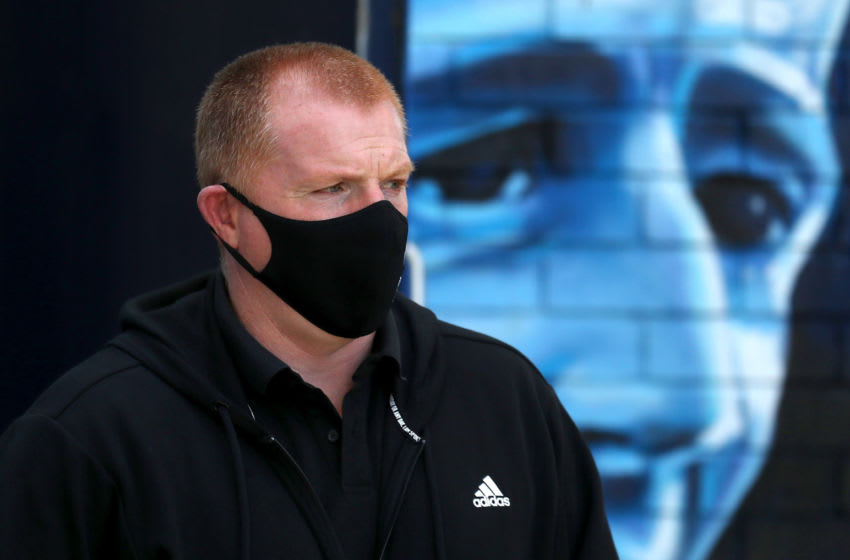 KILMARNOCK, SCOTLAND - AUGUST 09: Neil Lennon of Celtic arrives at the stadium prior to the Ladbrokes Scottish Premiership match between Kilmarnock and Celtic at Rugby Park on August 09, 2020 in Kilmarnock, Scotland. (Photo by Ian MacNicol/Getty Images)