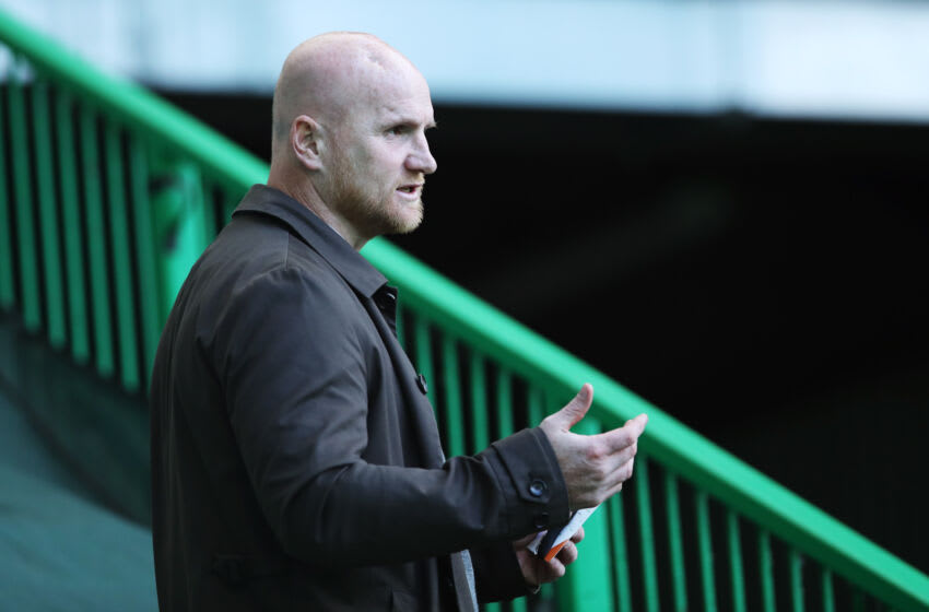 GLASGOW, SCOTLAND - AUGUST 18: John Hartson, Former Celtic player looks on prior to the UEFA Champions League: First Qualifying Round match between Celtic and KR Reykjavik at Celtic Park on August 18, 2020 in Glasgow, Scotland. (Photo by Ian MacNicol/Getty Images)