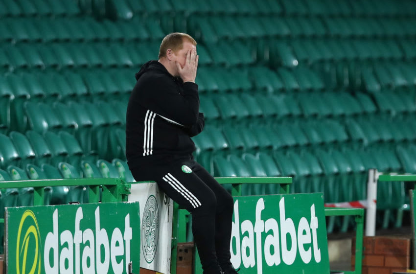 GLASGOW, SCOTLAND - AUGUST 26: Neil Lennon, Manager of Celtic reacts during the UEFA Champions League: Second Qualifying Round match between Celtic and Ferencvaros at Celtic Park on August 26, 2020 in Glasgow, Scotland. (Photo by Ian MacNicol/Getty Images)