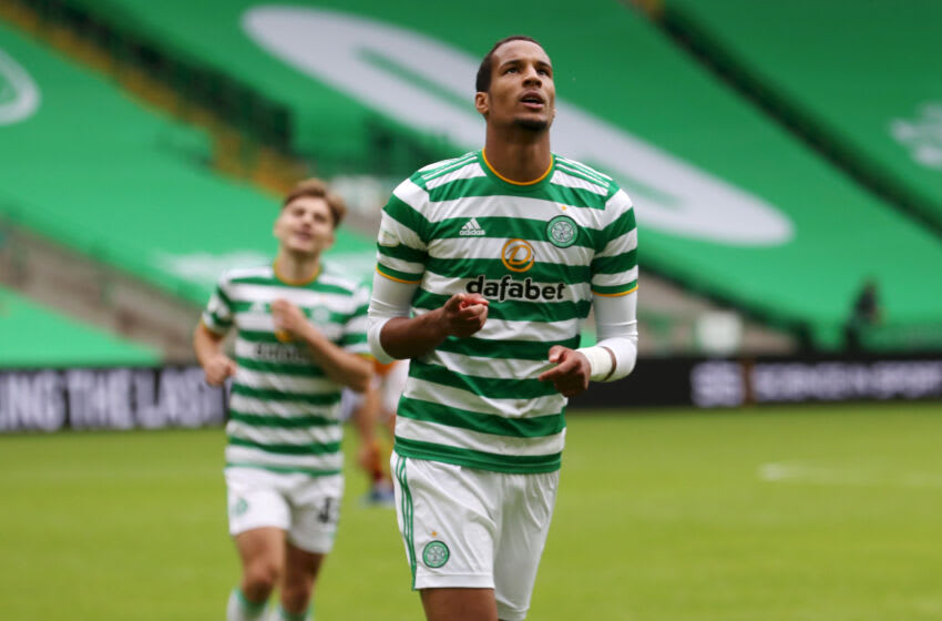 GLASGOW, SCOTLAND - AUGUST 30: Christopher Jullien of Celtic celebrates after scoring his team's third goal during the Ladbrokes Scottish Premiership match between Celtic and Motherwell at Celtic Park on August 30, 2020 in Glasgow, Scotland. (Photo by Ian MacNicol/Getty Images)