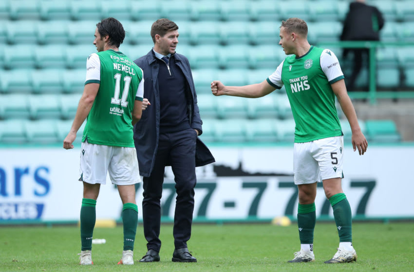 EDINBURGH, SCOTLAND - SEPTEMBER 20: Steven Gerrard, Manager of Rangers with Joe Newell and Ryan Porteous of Hibernian FC after the Scottish Premiership match between Hibernian and Rangers at Easter Road on September 20, 2020 in Edinburgh, Scotland. (Photo by Ian MacNicol/Getty Images)
