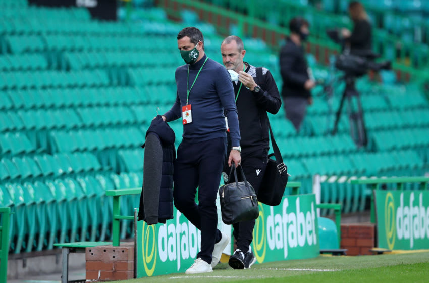 GLASGOW, SCOTLAND - SEPTEMBER 27: Jack Ross, Manager of Hibernian arrives at the stadium prior to the Ladbrokes Scottish Premiership match between Celtic and Hibernian at Celtic Park on September 27, 2020 in Glasgow, Scotland. Sporting stadiums around the UK remain under strict restrictions due to the Coronavirus Pandemic as Government social distancing laws prohibit fans inside venues resulting in games being played behind closed doors. (Photo by Ian MacNicol/Getty Images)