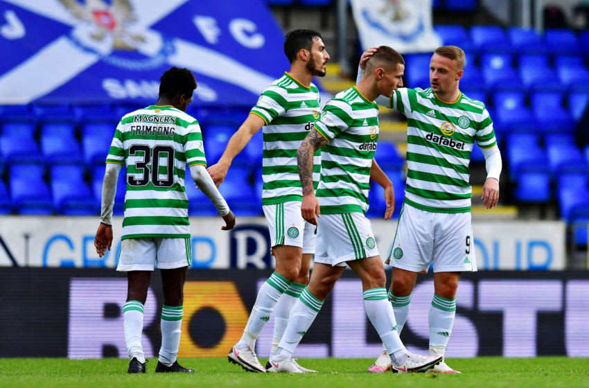 PERTH, SCOTLAND - OCTOBER 04: Patryk Klimala of Celtic celebrates with teammates after scoring his sides second goal during the Ladbrokes Scottish Premiership match between St. Johnstone and Celtic at McDiarmid Park on October 04, 2020 in Perth, Scotland. Football Stadiums around Europe remain empty due to the Coronavirus Pandemic as Government social distancing laws prohibit fans inside venues resulting in fixtures being played behind closed doors. (Photo by Mark Runnacles/Getty Images)