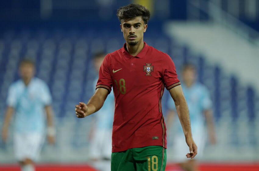OEIRAS, PORTUGAL - OCTOBER 9: Jota of Portugal U21 & SL Benfica during the UEFA Euro Under 21 Qualifier match between Portugal U21 and Norway U21 at Estadio Cidade do Futebol FPF on October 9, 2020 in Oeiras, Portugal. (Photo by Gualter Fatia/Getty Images)