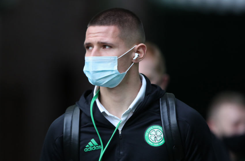 GLASGOW, SCOTLAND - OCTOBER 17: Patryk Klimala of Celtic arrives at the stadium prior to the Ladbrokes Scottish Premiership match between Celtic and Rangers at Celtic Park on October 17, 2020 in Glasgow, Scotland. Sporting stadiums around the UK remain under strict restrictions due to the Coronavirus Pandemic as Government social distancing laws prohibit fans inside venues resulting in games being played behind closed doors. (Photo by Ian MacNicol/Getty Images)