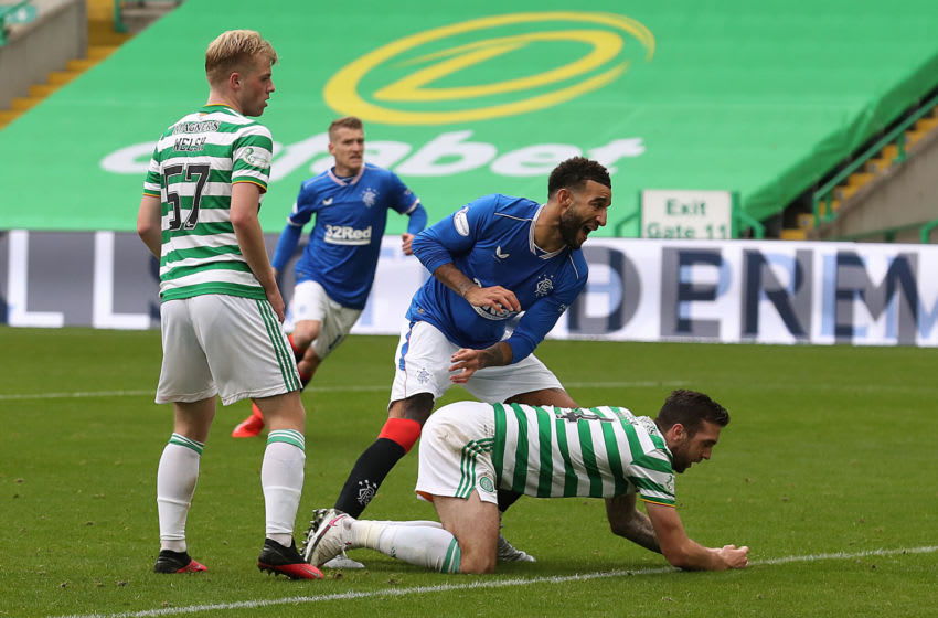 GLASGOW, SCOTLAND - OCTOBER 17: Connor Goldson of Rangers celebrates after scoring his team's second goal during the Ladbrokes Scottish Premiership match between Celtic and Rangers at Celtic Park on October 17, 2020 in Glasgow, Scotland. Sporting stadiums around the UK remain under strict restrictions due to the Coronavirus Pandemic as Government social distancing laws prohibit fans inside venues resulting in games being played behind closed doors. (Photo by Ian MacNicol/Getty Images)