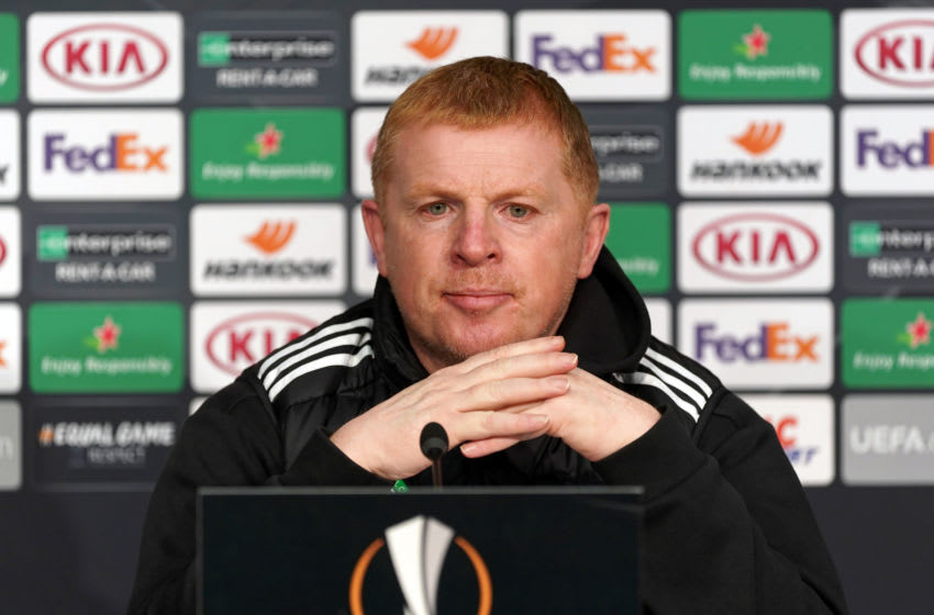 LILLE, FRANCE - OCTOBER 28: Celtic manager Neil Lennon attends press conference ahead of the UEFA Europa League Group H stage match between Celtic and LOSC Lille at Stade Pierre Mauroy on October 28, 2020 in Lille, France. (Photo by Sylvain Lefevre/Getty Images)