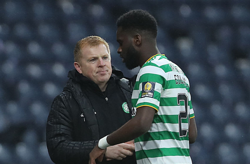 GLASGOW, SCOTLAND - NOVEMBER 01: Celtic manager Neil Lennon substitutes Odsonne Edouard of Celtic during the William Hill Scottish Cup second semi-final match between Celtic and Aberdeen at Hampden Park National Stadium on November 01, 2020 in Glasgow, Scotland. Football Stadiums around Europe remain empty due to the Coronavirus Pandemic as Government social distancing laws prohibit fans inside venues resulting in fixtures being played behind closed doors. (Photo by Ian MacNicol/Getty Images)