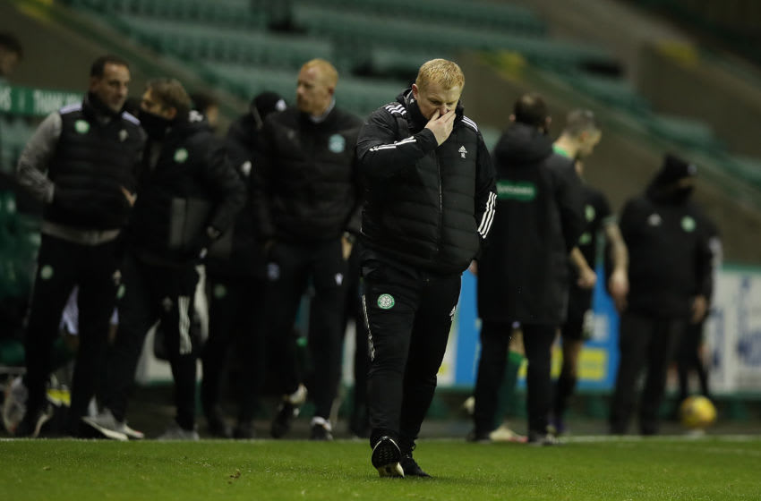 EDINBURGH, SCOTLAND - NOVEMBER 21: Celtic manager Neil Lennon is seen at full time during the Ladbrokes Scottish Premiership match between Hibernian and Celtic at Easter Road on November 21, 2020 in Edinburgh, Scotland. Sporting stadiums around the UK remain under strict restrictions due to the Coronavirus Pandemic as Government social distancing laws prohibit fans inside venues resulting in games being played behind closed doors. (Photo by Ian MacNicol/Getty Images)