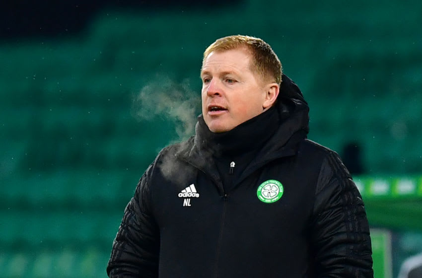GLASGOW, SCOTLAND - NOVEMBER 29: Neil Lennon, Manager of Celtic reacts during the Betfred Cup match between Celtic and Ross County at Celtic Park on November 29, 2020 in Glasgow, Scotland. Sporting stadiums around the UK remain under strict restrictions due to the Coronavirus Pandemic as Government social distancing laws prohibit fans inside venues resulting in games being played behind closed doors. (Photo by Mark Runnacles/Getty Images)