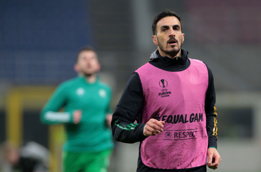 MILAN, ITALY - DECEMBER 03: Abd Hatem Elhamed of Celtic warms up prior to the UEFA Europa League Group H stage match between AC Milan and Celtic at San Siro Stadium on December 03, 2020 in Milan, Italy. Sporting stadiums around Italy remain under strict restrictions due to the Coronavirus Pandemic as Government social distancing laws prohibit fans inside venues resulting in games being played behind closed doors. (Photo by Emilio Andreoli/Getty Images)