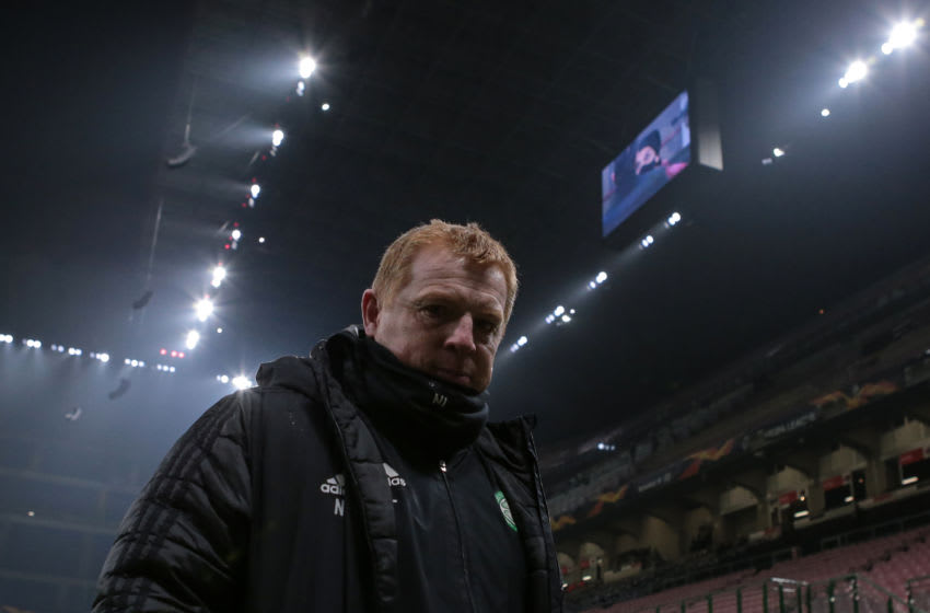 MILAN, ITALY - DECEMBER 03: Neil Lennon Head coach of Celtic during the UEFA Europa League Group H stage match between AC Milan and Celtic at San Siro Stadium on December 03, 2020 in Milan, Italy. (Photo by Jonathan Moscrop/Getty Images)