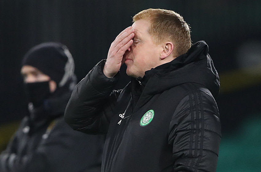GLASGOW, SCOTLAND - DECEMBER 05: Celtic's manager Neil Lennon reacts during the Ladbrokes Scottish Premiership match between Celtic and St. Johnstone at Celtic Park on December 05, 2020 in Glasgow, Scotland. Sporting stadiums around Scotland remain under strict restrictions due to the Coronavirus Pandemic as Government social distancing laws prohibit fans inside venues resulting in games being played behind closed doors. (Photo by Ian MacNicol/Getty Images)