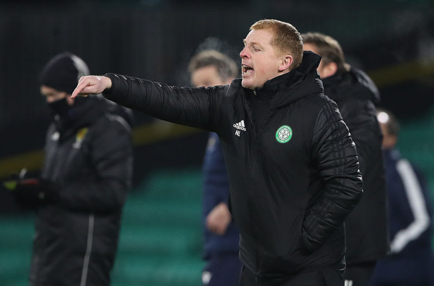 GLASGOW, SCOTLAND - DECEMBER 05: Celtic manager Neil Lennon reacts during the Ladbrokes Scottish Premiership match between Celtic and St. Johnstone at Celtic Park on December 05, 2020 in Glasgow, Scotland. Sporting stadiums around Scotland remain under strict restrictions due to the Coronavirus Pandemic as Government social distancing laws prohibit fans inside venues resulting in games being played behind closed doors. (Photo by Ian MacNicol/Getty Images)