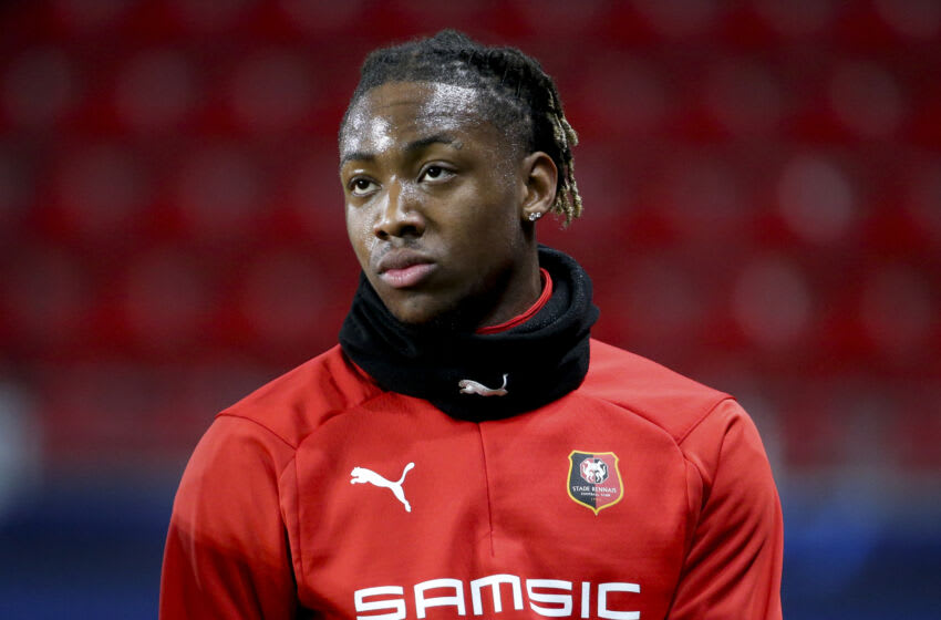 RENNES, FRANCE - DECEMBER 8: Brandon Soppy of Stade Rennais during the UEFA Champions League Group E stage match between Stade Rennais and FC Sevilla (FC Seville) at Roazhon Park on December 8, 2020 in Rennes, France. (Photo by John Berry/Getty Images)